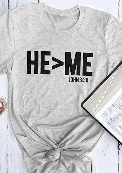 He Is Large Than Me Tie T-Shirt Tee - Light Grey