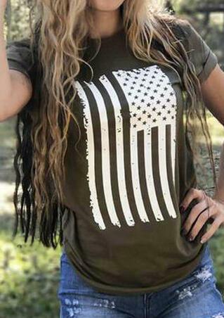 American Flag O-Neck T-Shirt Tee - Army Green