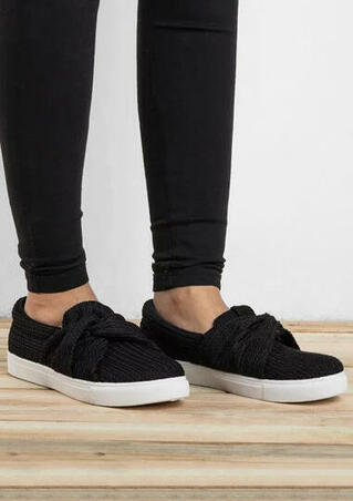 Knitted Twist Flat Sneakers - Black