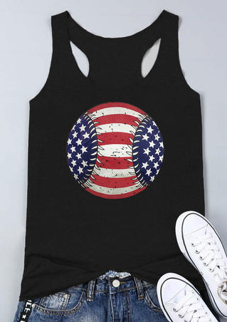 Baseball American Flag Tank - Black