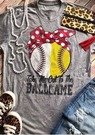 Take Me Out To The Ballgame Baseball T-Shirt Tee - Gray