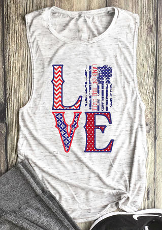 American Flag Love O-Neck Tank - White