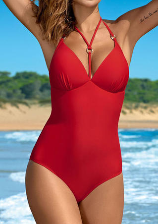 Solid Halter One-Piece Swimsuit - Red