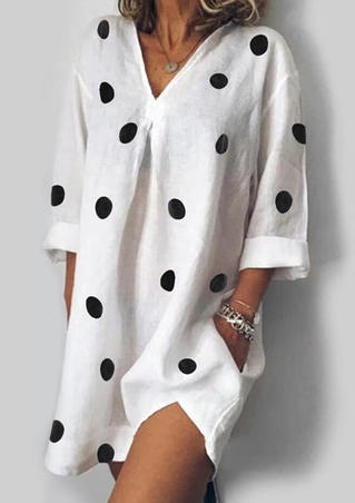Polka Dot Pocket Mini Dress without Necklace - White