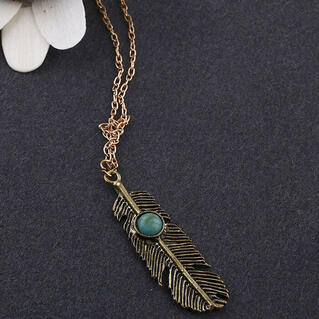 Vintage Feather Tassel Necklace