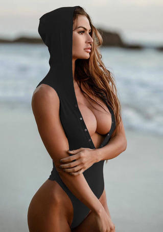 Solid Hooded Button One Piece Swimsuit - Black