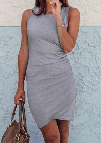 solid ruffled casual dress - gray