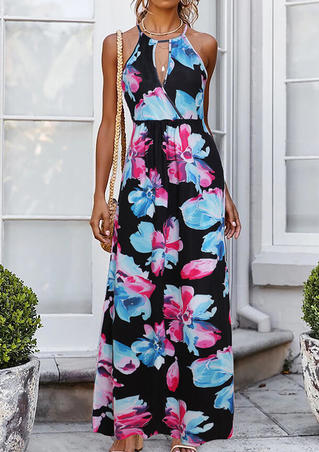 Floral V-Neck Maxi Dress without Necklace - Black
