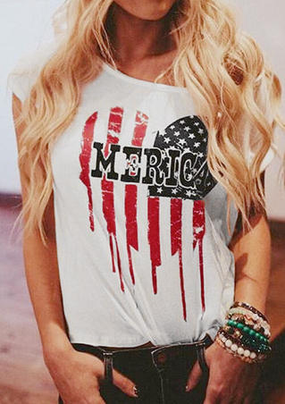 American Flag Heart T-Shirt Tee - White
