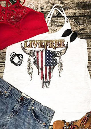 American Flag Live Free Cattle Camisole - White