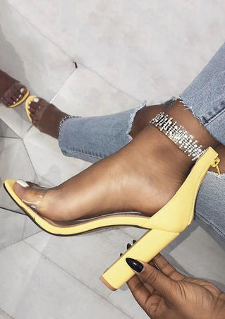 Imitated Crystal Round Toe Heeled Sandals - Yellow