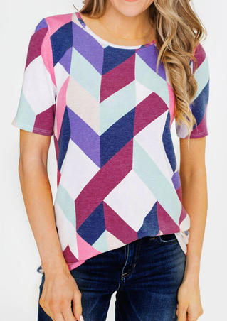 Geometric Printed O-Neck Blouse - Multicolor