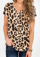 Leopard Printed V-Neck Blouse - Leopard