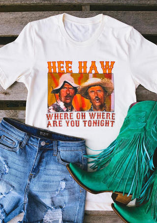 Hee Haw O-Neck T-Shirt Tee - White