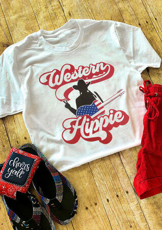 Western Hippie Guitar T-Shirt Tee - White
