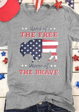 Land Of The Free American Flag T-Shirt Tee - Gray