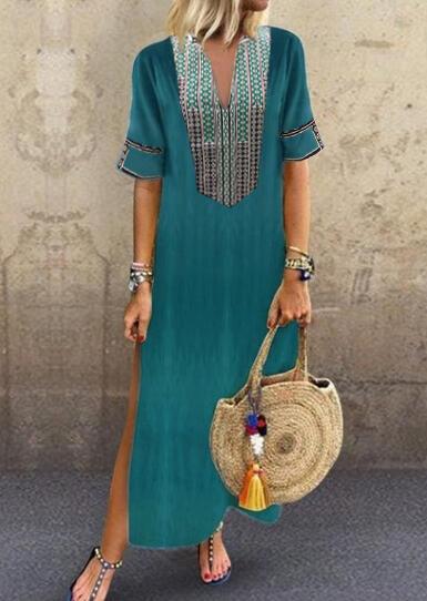 Geometric Printed Side Slit V-Neck Maxi Dress - Green