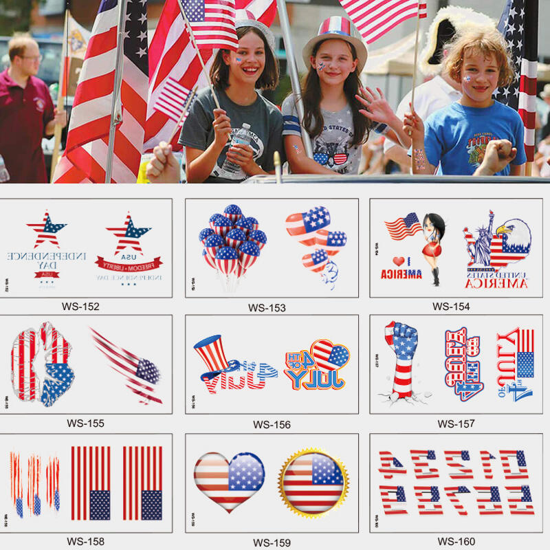 Image of 11Pcs/Set Makeup American Flag Tattoo Sticker