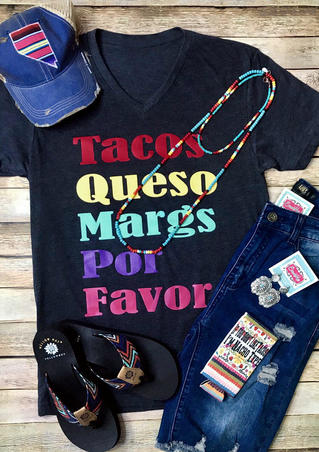 Tacos Queso Margs Por Favor T-Shirt Tee - Navy Blue