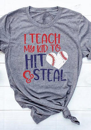 I Teach My Kid To Hit Steal Baseball T-Shirt Tee - Gray