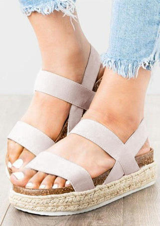 Solid Ankle Strap Platform Sandals - White
