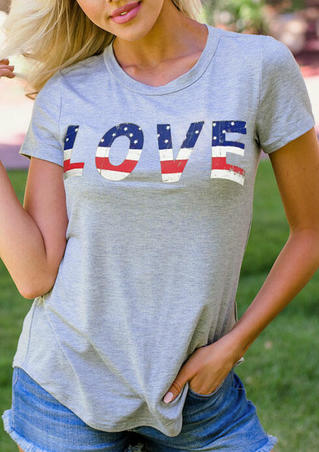 Love American Flag T-Shirt Tee - Gray