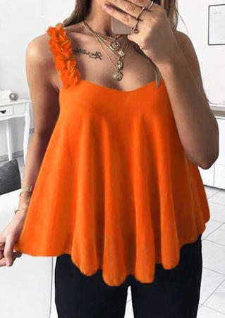 Solid Flower Spaghetti Strap V-Neck Camisole - Orange