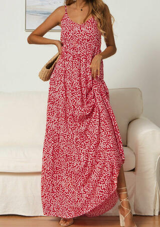 Floral Printed Spaghetti Strap Maxi Dress without Necklace - Red