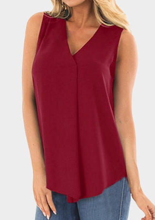 Solid V-Neck Tank- Burgundy