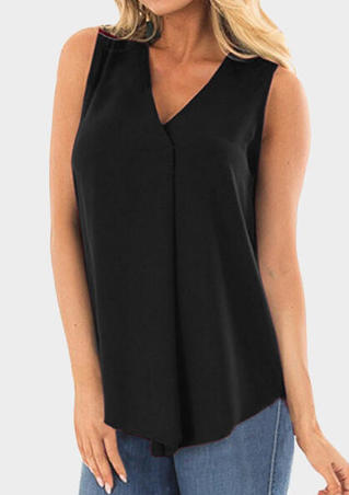 Solid V-Neck Tank- Black