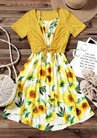 2 Pcs  Sunflower Cami Dress with Knotted Top - Yellow