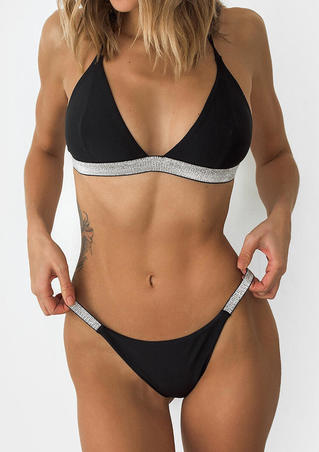 Splicing Adjustable Strap Sexy Bikini Set - Black