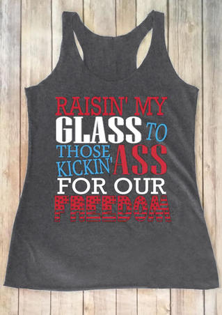 Raisin My Glass To Those Kickin ' Ass Tank - Gray