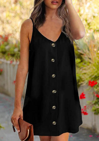 Solid Button V-Neck Mini Dress - Black