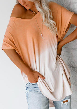 Color Block V-Neck Blouse without Necklace - Orange