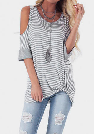 Striped Cold Shoulder Blouse without Necklace - Gray