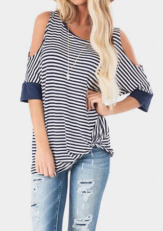 Striped Cold Shoulder Blouse without Necklace - Navy Blue