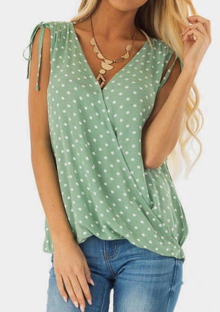 Polka Dot Ruffled Tank without Necklace - Green