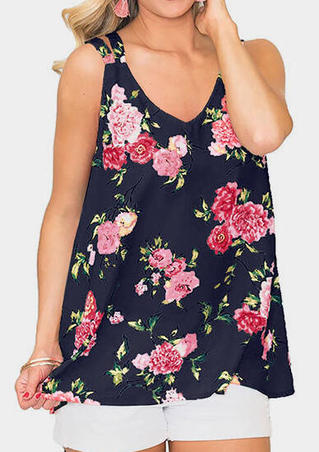 Floral Printed Slit V-Neck Tank - Navy Blue