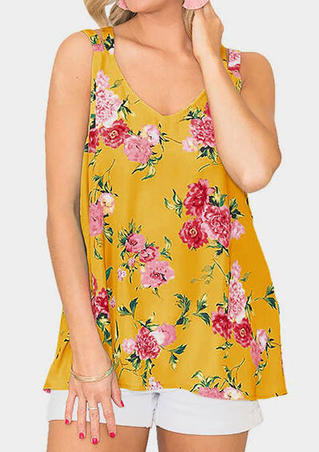 Floral Printed Slit V-Neck Tank - Yellow