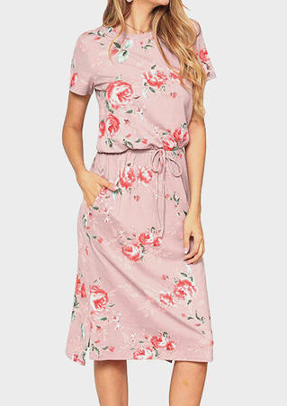 Floral Drawstring Pocket Casual Dress without Necklace - Pink