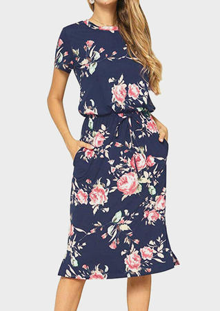Floral Drawstring Pocket Casual Dress without Necklace - Deep Blue