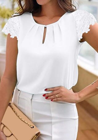 Solid Ruffled Hollow Out Blouse - White