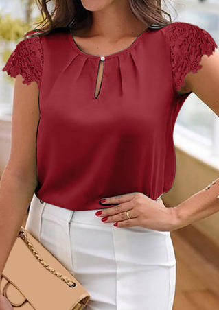 Solid Ruffled Hollow Out Blouse - Red