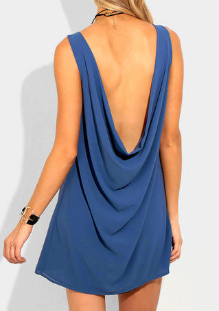 Solid Backless Mini Dress without Necklace - Blue