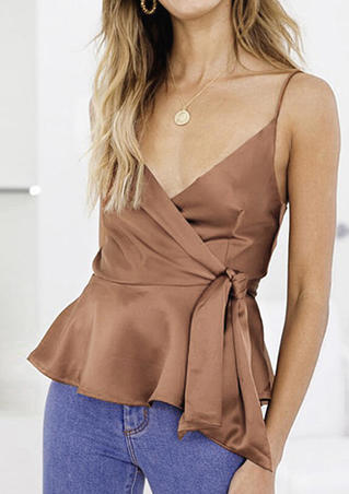 Solid Ruffled Spaghetti Strap Camisole without Necklace - Khaki