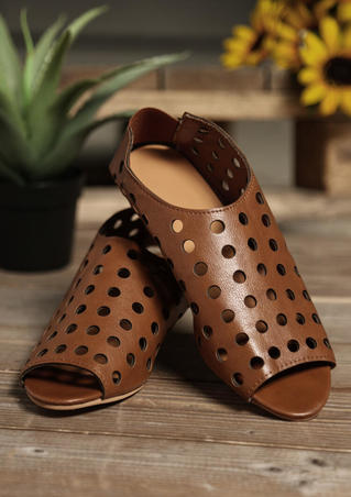 Solid Peep Toe Sandals - Brown