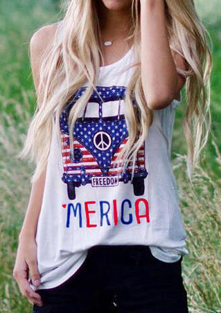 Merica Freedom Car Tank without Necklace - White