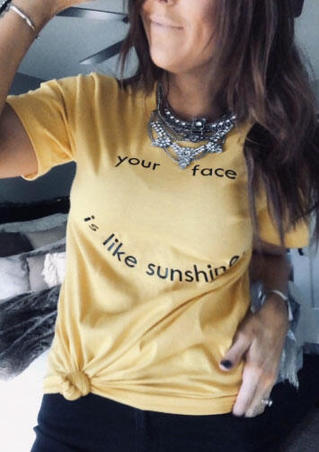Your Face Is Like Sunshine T-Shirt Tee without Necklace - Light Yellow