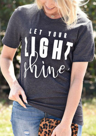 Let Your Light Shine T-Shirt Tee without Necklace - Dark Grey